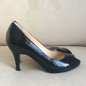 Cole Haan Nike Air Black Patent Leather Peeptoe